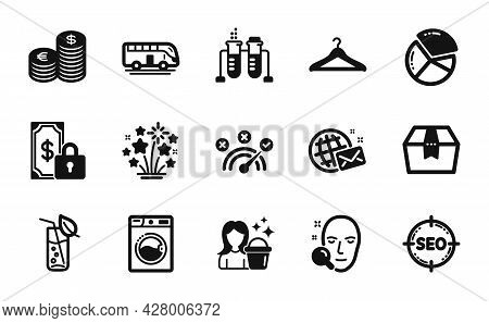 Vector Set Of Chemistry Beaker, Private Payment And Package Box Icons Simple Set. Washing Machine, P