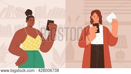 Woman Using Mobile App For Mails And Messages On Smartphone. Person Texting Email In Online Messenge