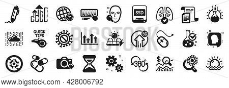 Set Of Science Icons, Such As Solar Panels, 5g Upload, Sunset Icons. Cloud System, Computer Keyboard