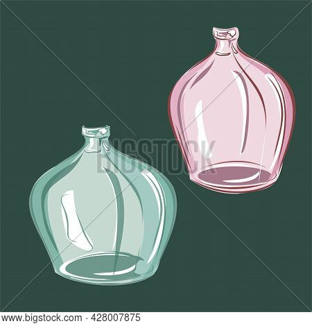Glass Vases, Bottles, Pink And Green Glass. Interior Design, Items For Interior Decoration. Isolated