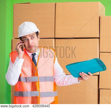 Man contractor working in box delivery relocation service