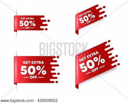 Get Extra 50 Percent Off Sale. Red Ribbon Tag Banners Set. Discount Offer Price Sign. Special Offer