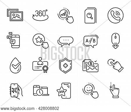 Vector Set Of Loyalty Star, Time Management And Dots Message Line Icons Set. Ab Testing, Touchscreen