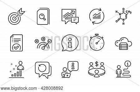 Education Icons Set. Included Icon As Timer, Recovery Data, Cloud Server Signs. Stats, Update Data,
