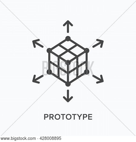 Prototype Flat Line Icon. Vector Outline Illustration Of 3d Cube. Black Thin Linear Pictogram For In