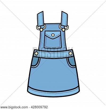 Denim Sundress Color Variation For Coloring Page Isolated On White Background