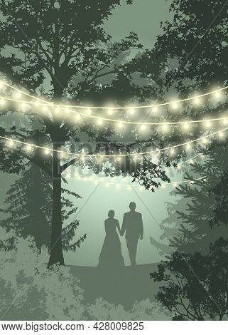 Save The Date Card Lights. Couple In The Forest. Hanging Decorative Holiday Lights For A Back Yard P