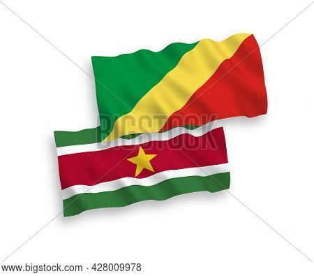 National Fabric Wave Flags Of Republic Of The Congo And Republic Of Suriname Isolated On White Backg