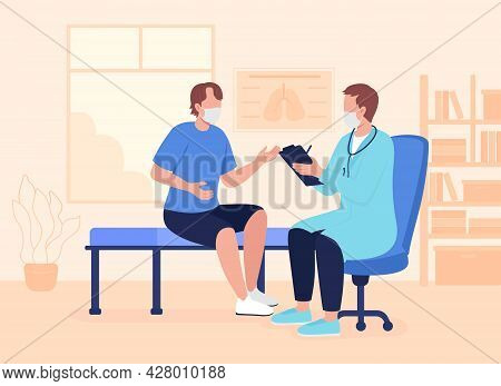 Physician Appointment During Pandemic Flat Color Vector Illustration. Counseling For Young Adults. A
