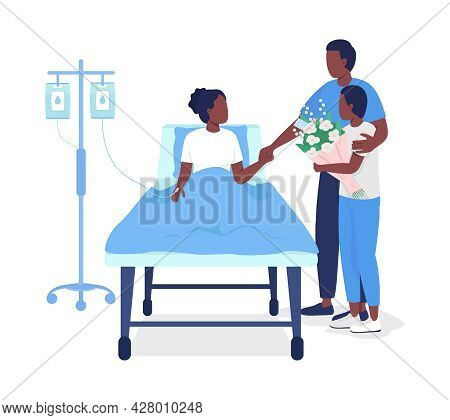 Father Visiting Daughter At Hospital Semi Flat Color Vector Characters. Full Body People On White. V