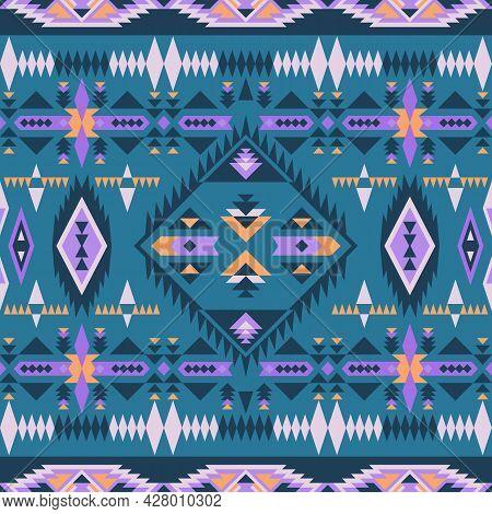 Aztec, Navajo Geometric Seamless Pattern. Native American Southwest Print. Ethnic Design Wallpaper,
