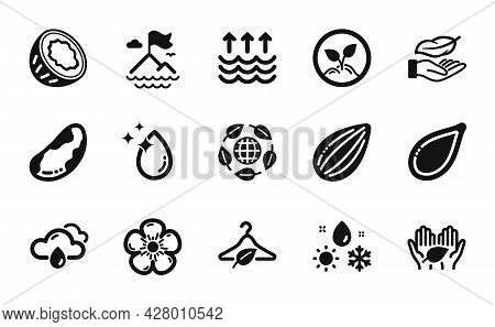 Vector Set Of Startup, Fair Trade And Eco Organic Icons Simple Set. Brazil Nut, Slow Fashion And Rai