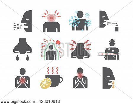 Influenza. Flu Symptoms, Treatment. Flat Icons Set. Vector Signs For Web Graphics.