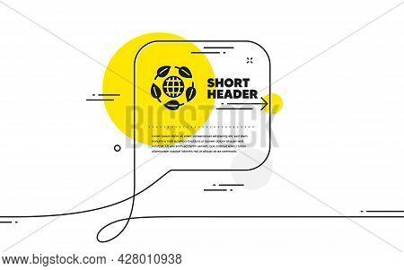 Eco Organic Icon. Continuous Line Chat Bubble Banner. Bio Cosmetics Sign. Fair Trade Symbol. Eco Org