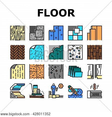Floor Installation Collection Icons Set Vector. Carpenter Covering And Floor Heating Electronic Syst