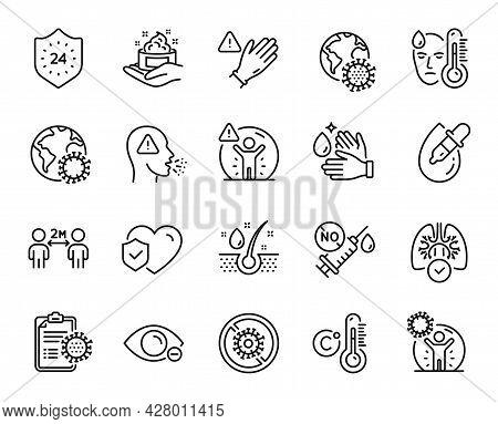 Vector Set Of Lungs, Coronavirus Protection And Myopia Line Icons Set. 24 Hours, Coronavirus Pandemi