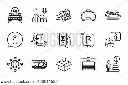 Transportation Icons Set. Included Icon As Flights Application, Parking App, Parking Signs. Bus Tour