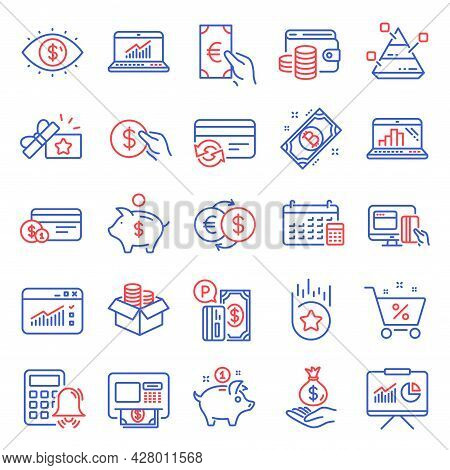 Finance Icons Set. Included Icon As Web Traffic, Money Box, Change Card Signs. Online Statistics, At