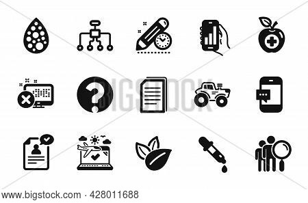 Vector Set Of Medical Food, Restructuring And Airplane Travel Icons Simple Set. Resume Document, Che
