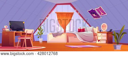 Girl Bedroom Interior On Attic. Teenager Mansard Room With Unmade Bed, Curtained Window, Workspace W