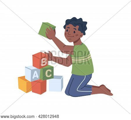 Child Playing Wooden Cubes With Abc Alphabet Letters. Isolated Boy Learning By Games. Kindergarten A