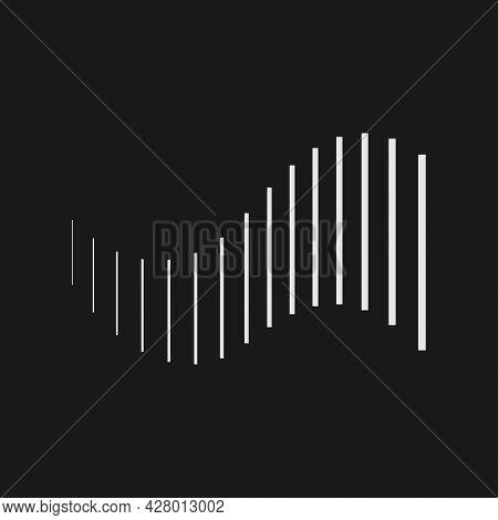 Retrofuturistic Stripes In The Shape Of Wave. Digital Cyber Retro Design Element. Strips In Cyberpun
