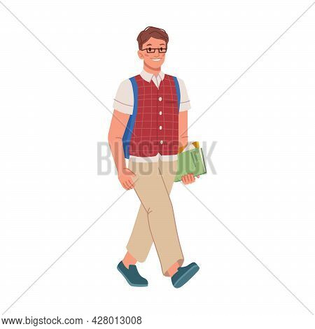 Boy Wearing Satchel And Carrying Book In Hand Walking To School Classes Or Lessons To Learn And Stud