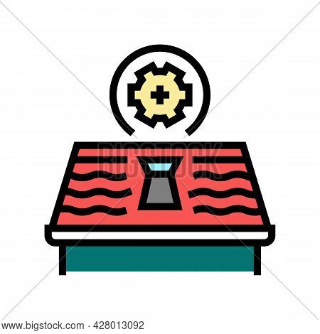 Skylight Installation Roof Color Icon Vector. Skylight Installation Roof Sign. Isolated Symbol Illus
