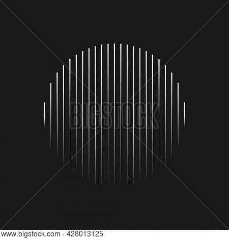 Retrofuturistic Striped Circle Shape. Digital Cyber Retro Design Element. Strips In Cyberpunk 80s St