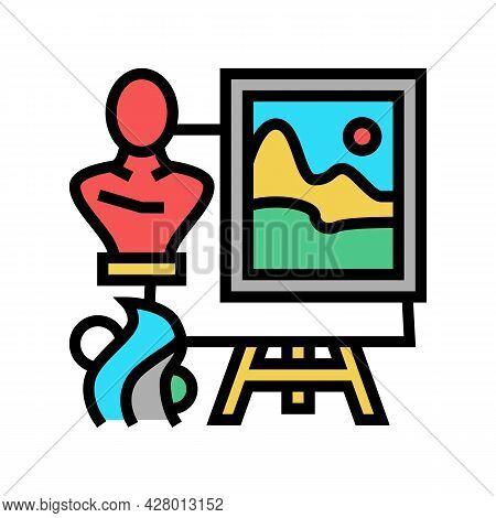 Art School Lesson Color Icon Vector. Art School Lesson Sign. Isolated Symbol Illustration