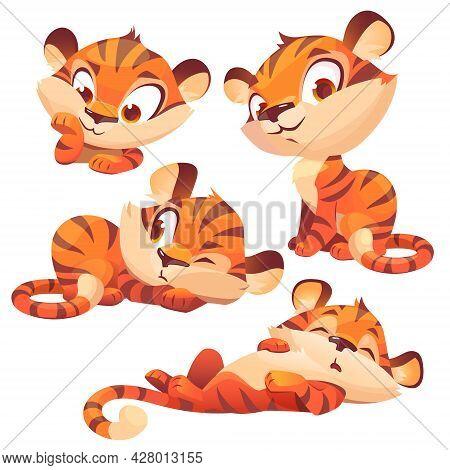 Set Of Cartoon Baby Tiger, Cute Animal Cub Character, Funny Mascot With Kawaii Muzzle Express Emotio