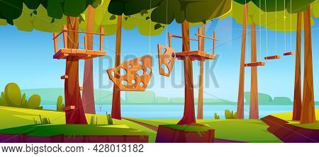 Adventure Park, Rope Climbing Center In Forest With Obstacles. Outdoor Place For Extreme Recreation