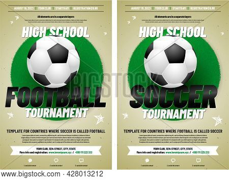 Two Versions Of Soccer Or Football Tournament Poster Template With Ball, Grass And Sample Text In Se