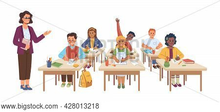 School Lesson Educational Process, Isolated Teacher And Children Sitting At Desks. Professor Asking