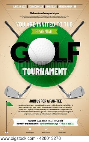 Golf Tournament Poster Template With Ball, Golf Clubs, Grass Texture And Copy Space For Your Text -