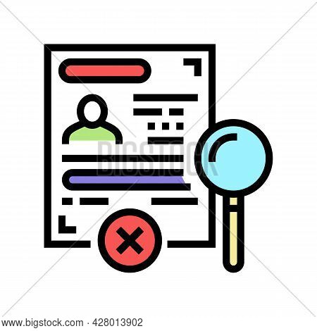 Visa Rejection Color Icon Vector. Visa Rejection Sign. Isolated Symbol Illustration