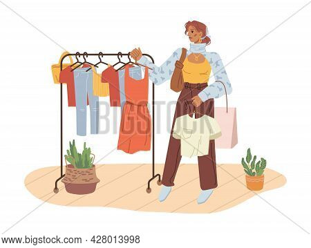 Woman Choose Cloth Hanging On Hangers Isolated Flat Cartoon Character. Vector Girl Shopper Going To
