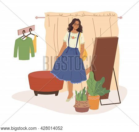 Fitting Room, Woman Trying On Dress Or Skirt, Posing In Front Of Mirror, Flat Cartoon Character. Vec
