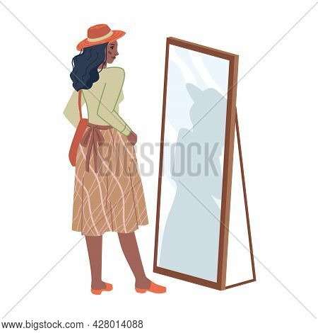 Pretty Woman In Hat, Middle Skirt Looking At Mirror Isolated Flat Cartoon Character. Vector Girl Cho
