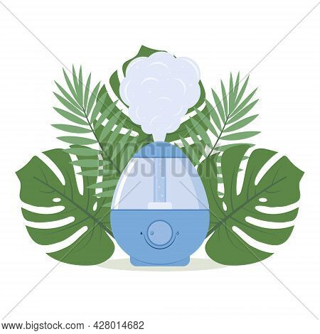 Humidifier On The Background Of Tropical Leaves, Color Isolated Vector Illustration.