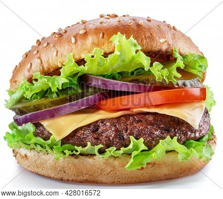 Delicious hamburger with beef cutlet, vegetables and onions isolated on a white background. Fast food concept.