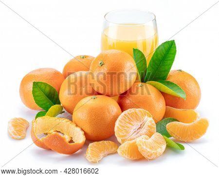 Orange tangerine fruits and glass of fresh tangerine juice isolated on white background.