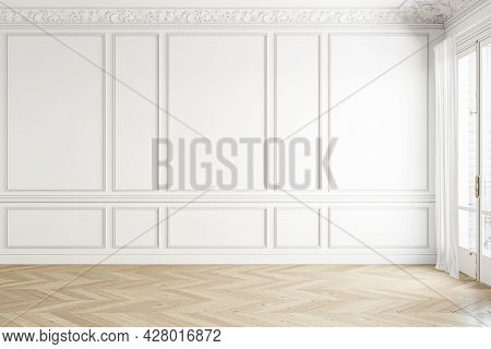 Classic White Empty Blank Wall Interior With Moldings And Wood Floor. 3d Render Illustration Mockup.