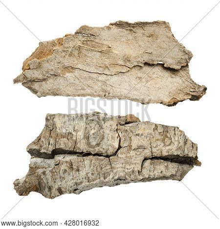 Wooden Splinter Or Piece Of Bark Isolated On White Background. Items For Mock Up, Scene Creator And