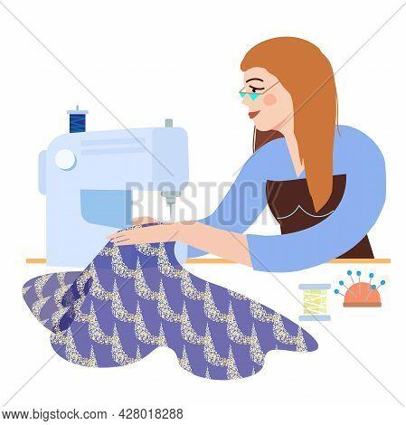 Fashionable Girl Seamstress Dressmaker Sews A Stylish Dress On A Sewing Machine. Vector Illustration