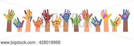 Children Drawings And Art, Kid Hands With Colorful Paints. Isolated Banner Of Children Art. Peace An