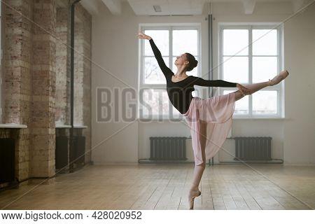Young woman in tutu dress dancing ballet during training in dance school