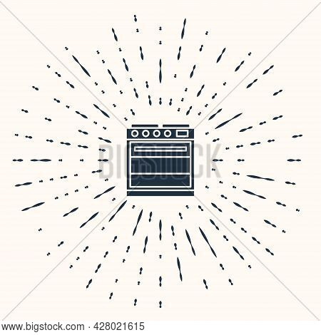 Grey Oven Icon Isolated On Beige Background. Stove Gas Oven Sign. Abstract Circle Random Dots. Vecto