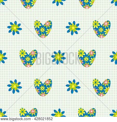 Blue Green Love Heart Vector Seamless Pattern In Boho Style. Backdrop Of Bright Floral Hearts And Fl