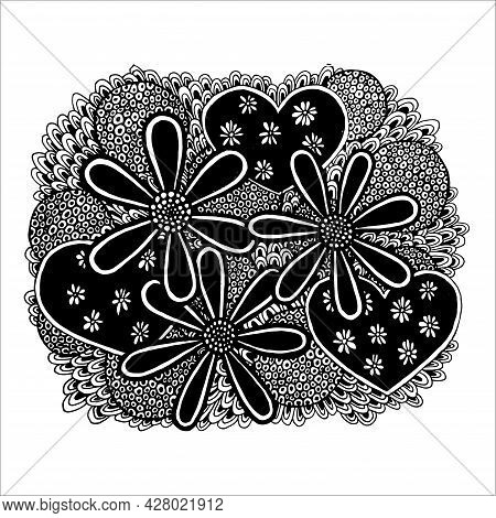 Flowers, Hearts, Curls And Leaves Drawn By Hand In Black And White Color